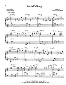 Combs Music Rachel's Song Sheet Music